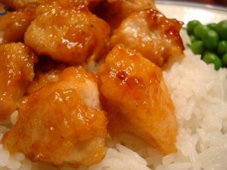 honey glazed chicken over white rice