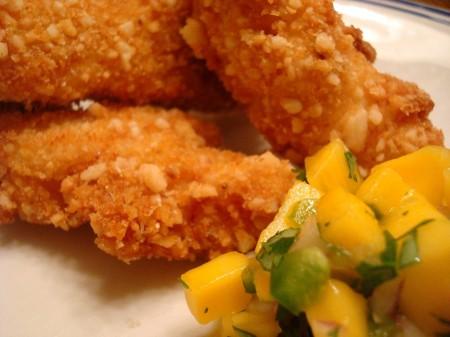 Macadamia-Crusted Chicken with Mango Salsa