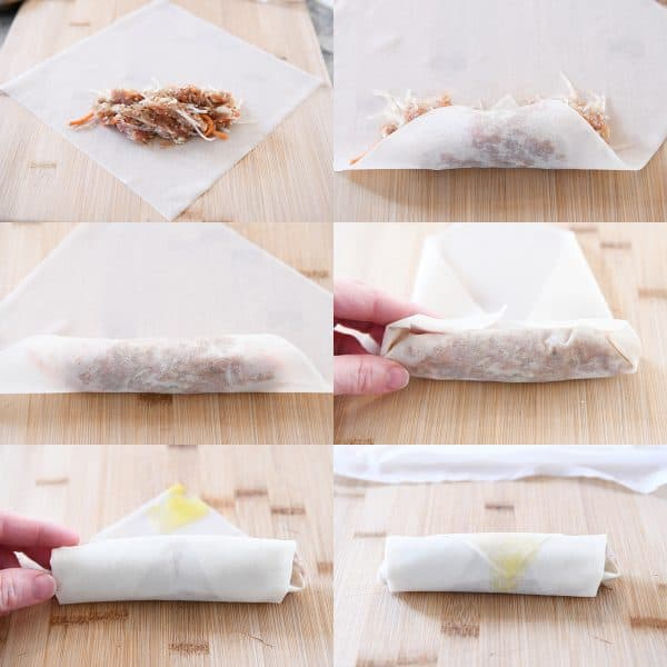six step-by-step photos of an egg roll being assembled and wrapped