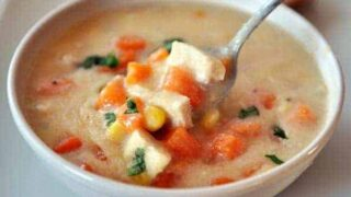 Chicken and Corn Chowder with Sweet Potatoes