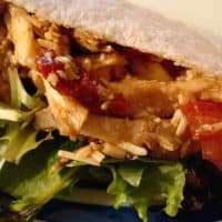 Shredded Chicken Pitas with Sun-dried Tomato Vinaigrette