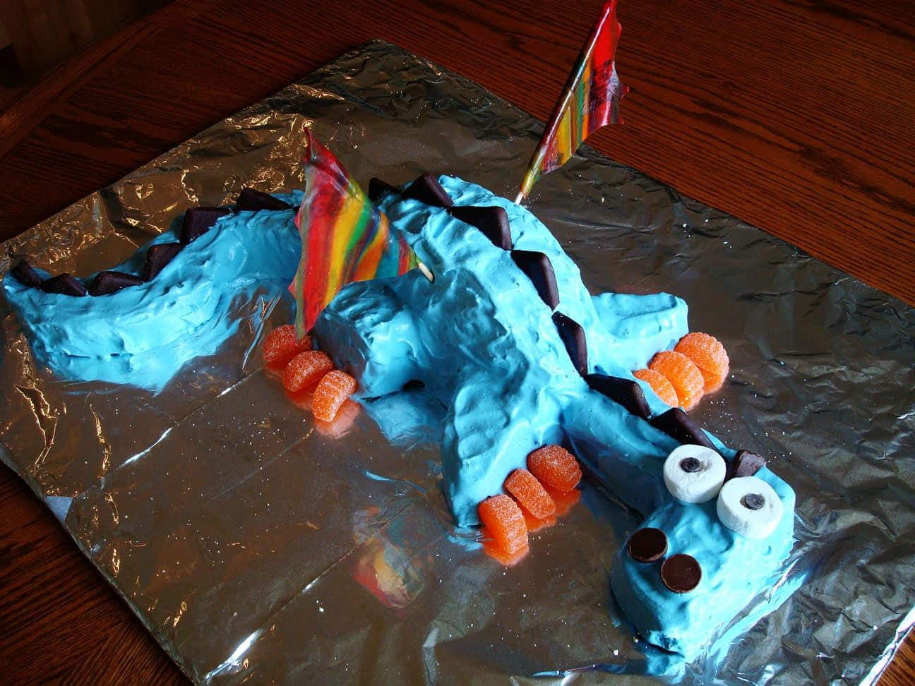 Admirable Whimsical Dragon Birthday Cake Mels Kitchen Cafe Personalised Birthday Cards Veneteletsinfo