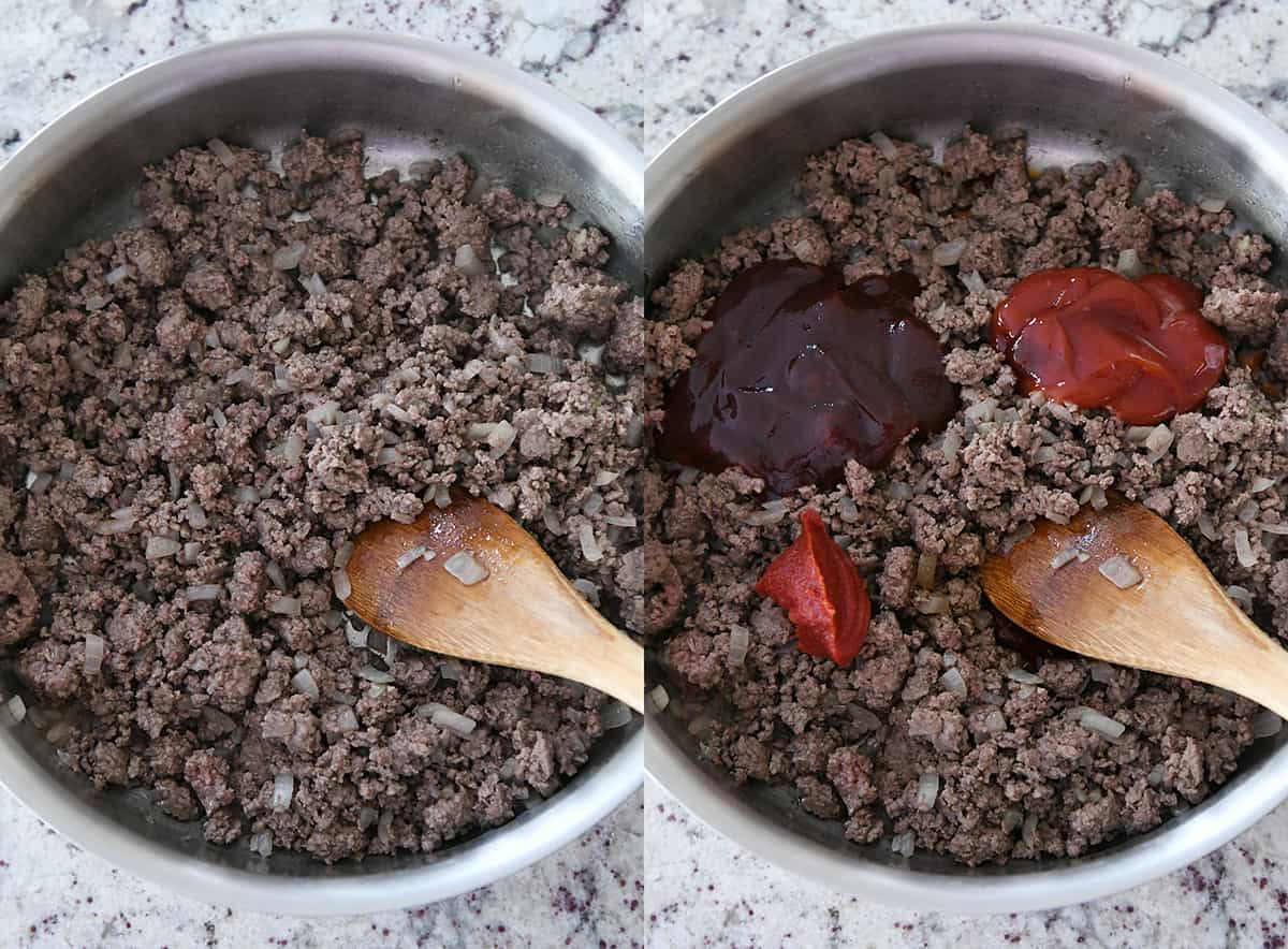 ground beef, tomato paste, ketchup and barbecue sauce in stainless pan
