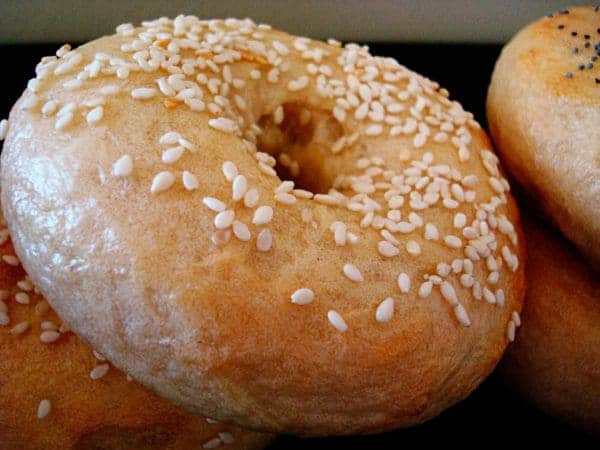 bagels topped with sesame seeds