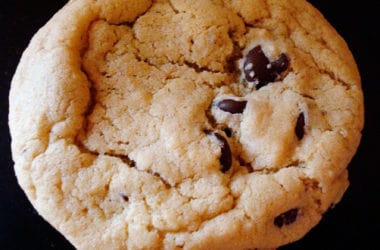 top view of a chocolate chip cookie