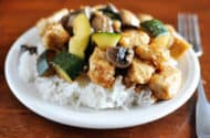 chicken and zucchini on white rice