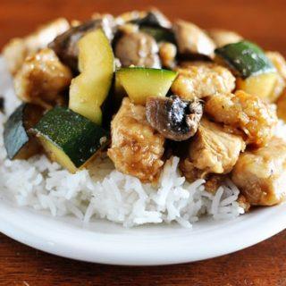 chicken and zucchini on white rice