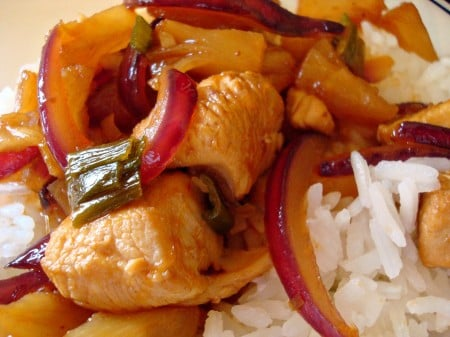 Sweet and Sour Chicken with Pineapple and Red Onion