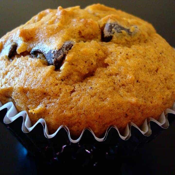 pumpkin chocolate chip muffin in blue muffin liner