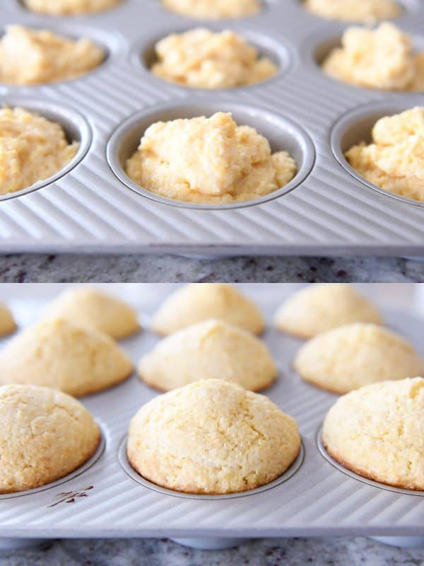 baked and unbaked cornbread muffins