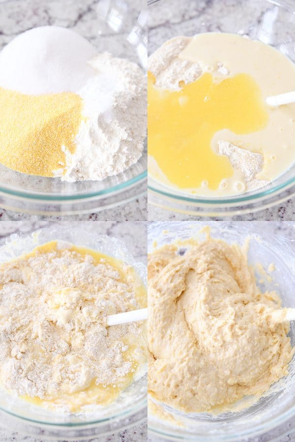 mixing batter for the best cornbread muffins