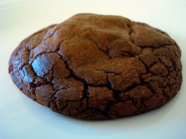 chocolate cookie on white plate