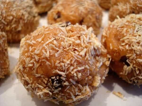 peanut butter chocolate chip balls on a white plate