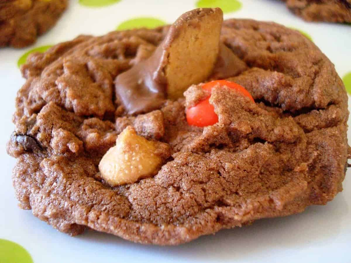 chocolate peanut butter cup cookie on a white plate