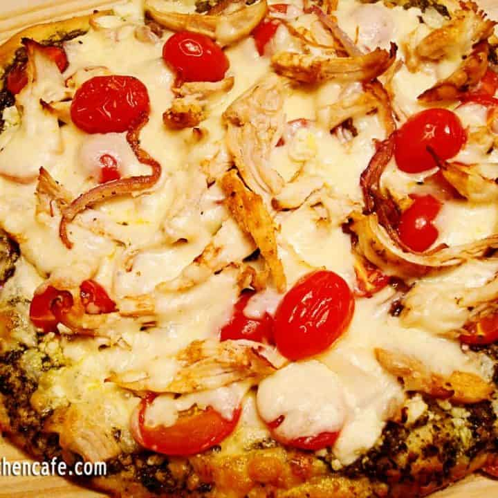 Pesto Pizza with Pine Nuts and Feta