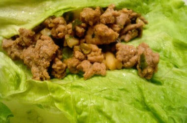 ground turkey in a piece of lettuce
