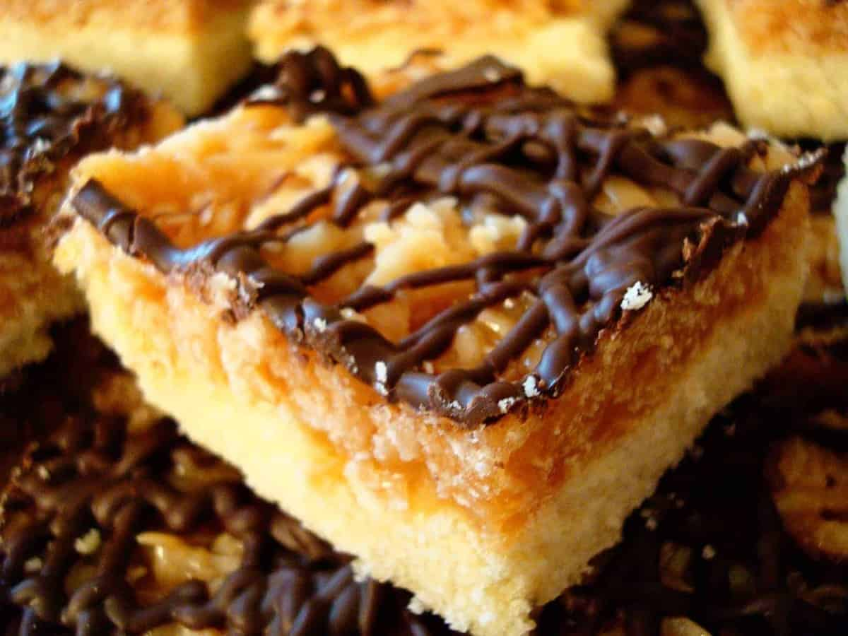 samoa bar with chocolate drizzle on top