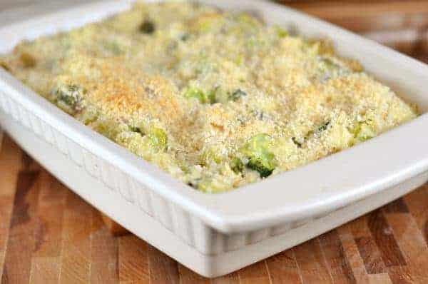 broccoli and rice casserole in a white dish