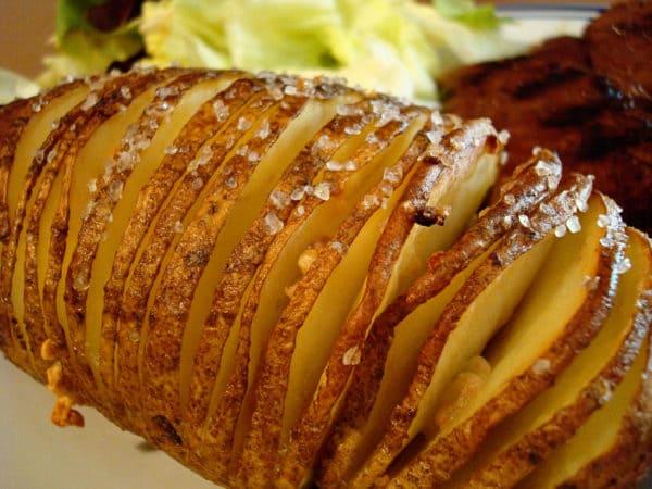 baked potato sliced into thin slices