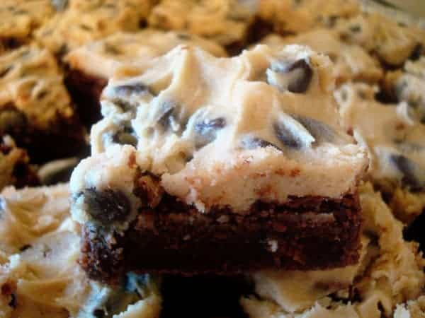 brownies topped with cookie dough frosting