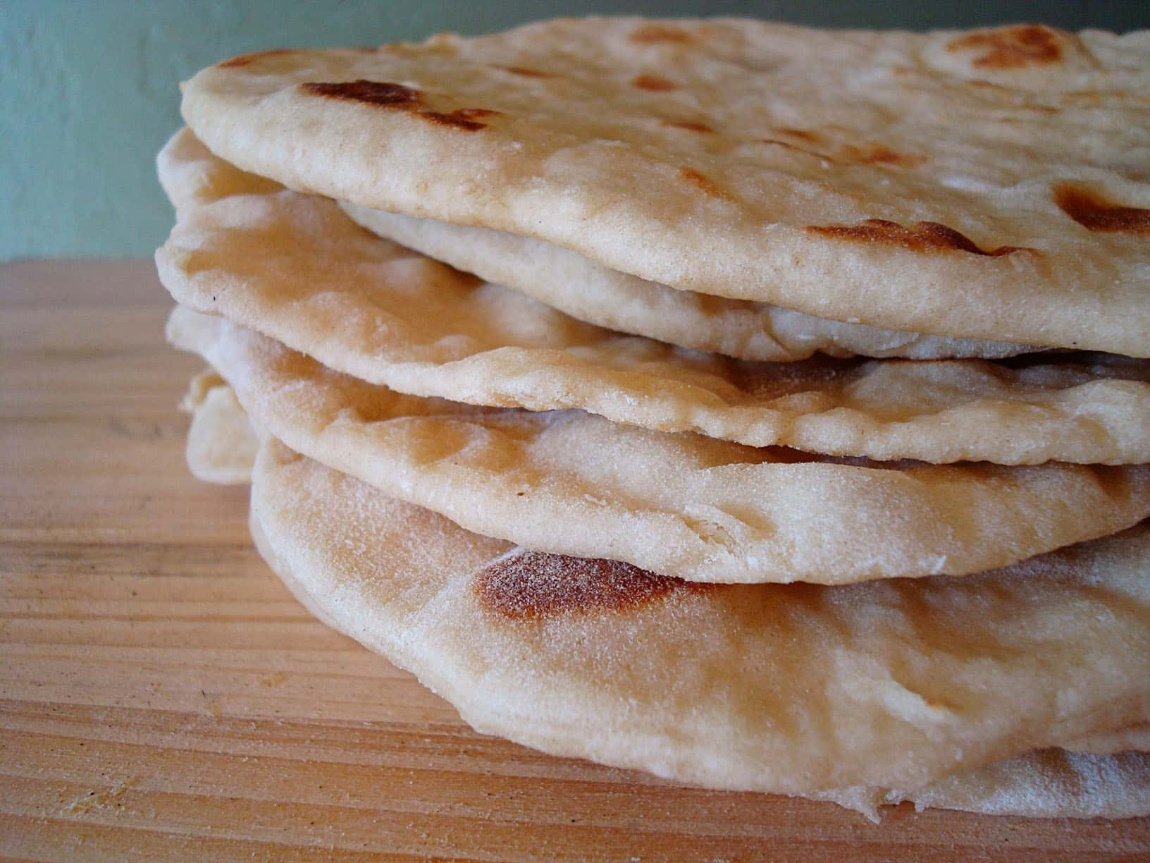 stack of soft wrap bread on a table
