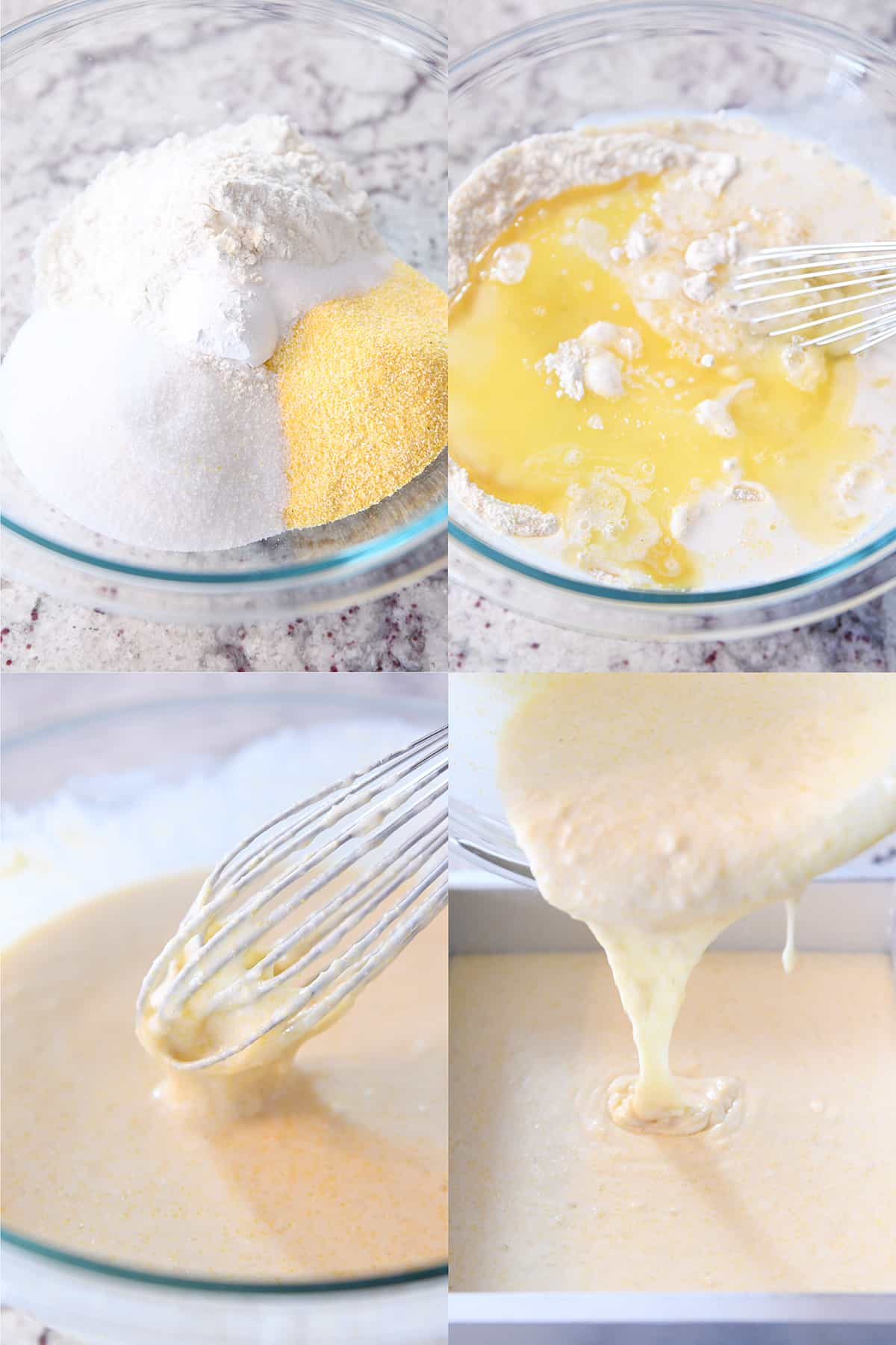 step-by-step mixing up the batter for the best cornbread on the planet