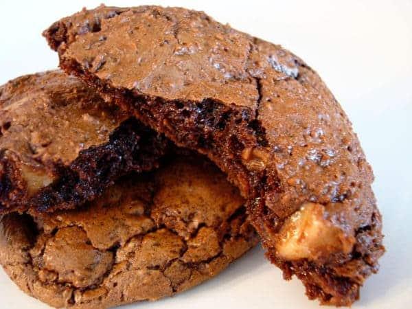 chocolate toffee cookie split in half