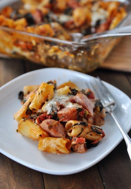 Baked Pasta with Chicken {or Turkey} Sausage