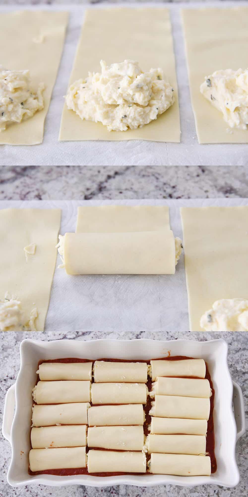 rolling up manicotti shells with cheesy ricotta filling