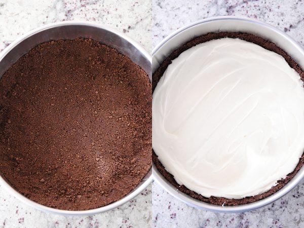 chocolate crust in springform pan, cheesecake batter spread over chocolate crust