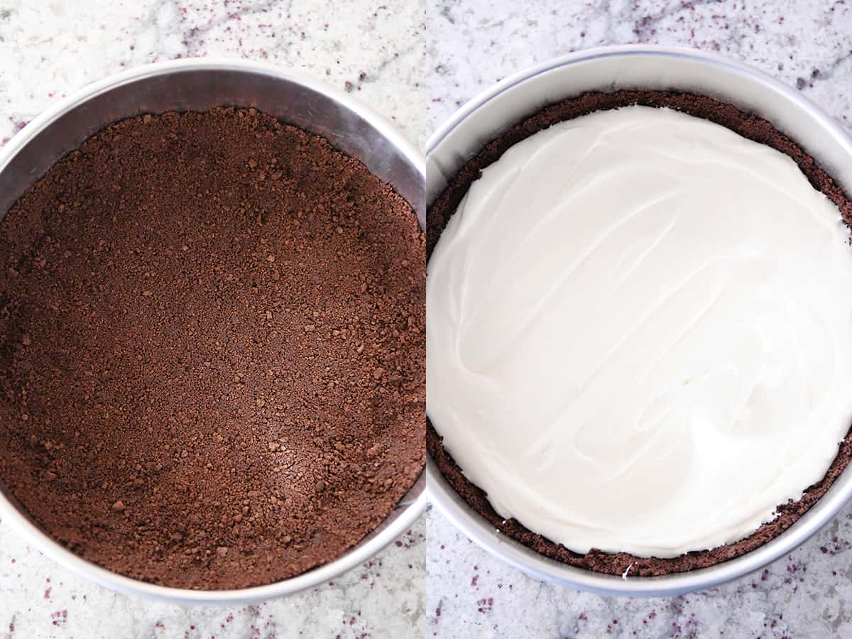 chocolate crust in springform pan, cheesecake batter spread over chocolate crust