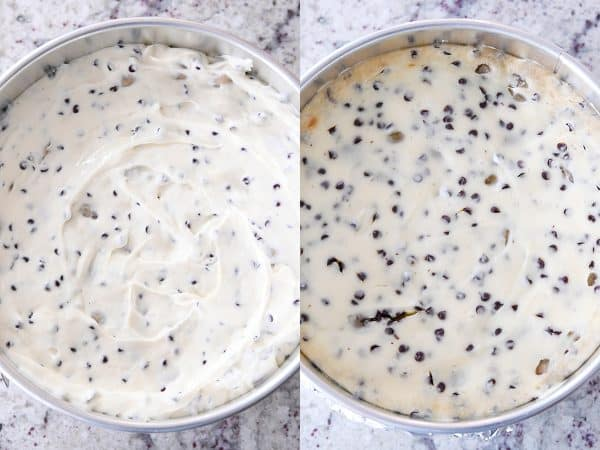 baked and unbaked chocolate chip cookie dough cheesecake
