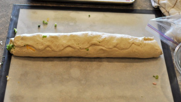 bread dough rolled into a log