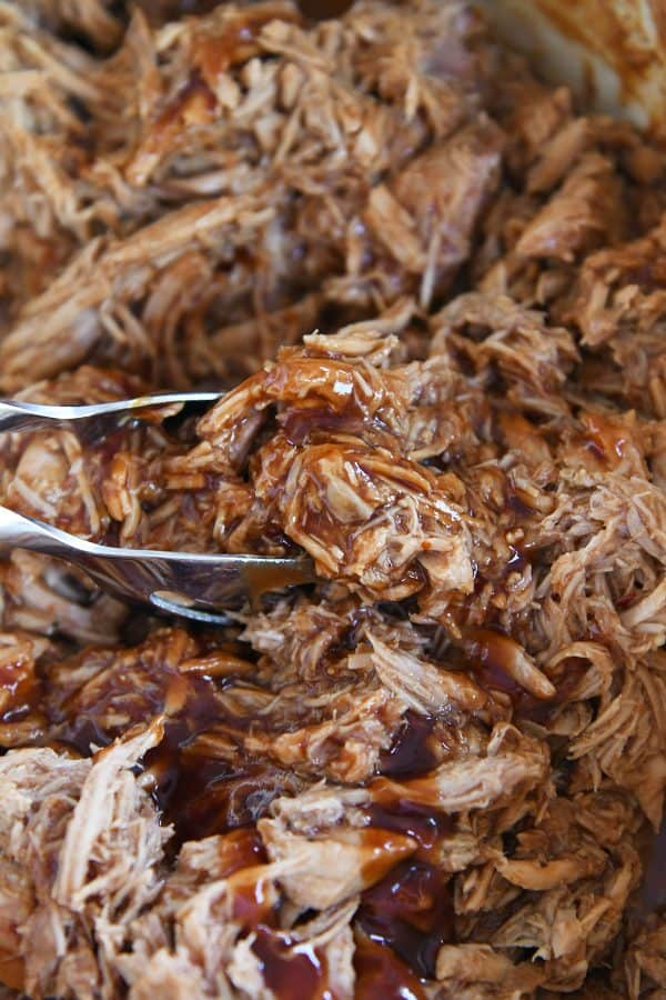 cooked shredded BBQ pork with BBQ sauce