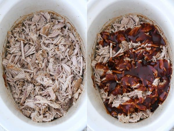 shredded pork in slow cooker with BBQ sauce