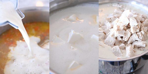 adding milk, cream cheese, and chicken to soup