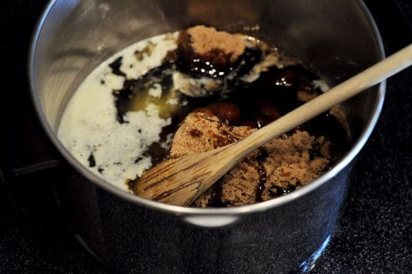 saucepan filled with brown sugar and corn syrup
