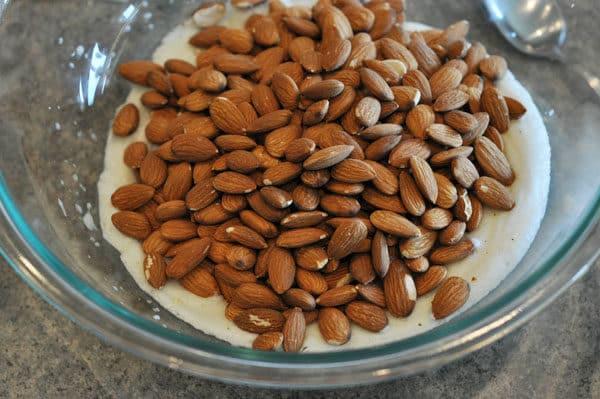 almonds on top of stiff egg whites