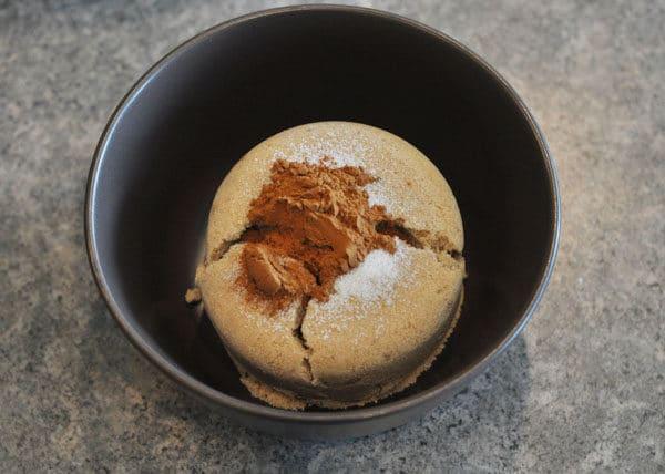 brown sugar and cinnamon in a black bowl