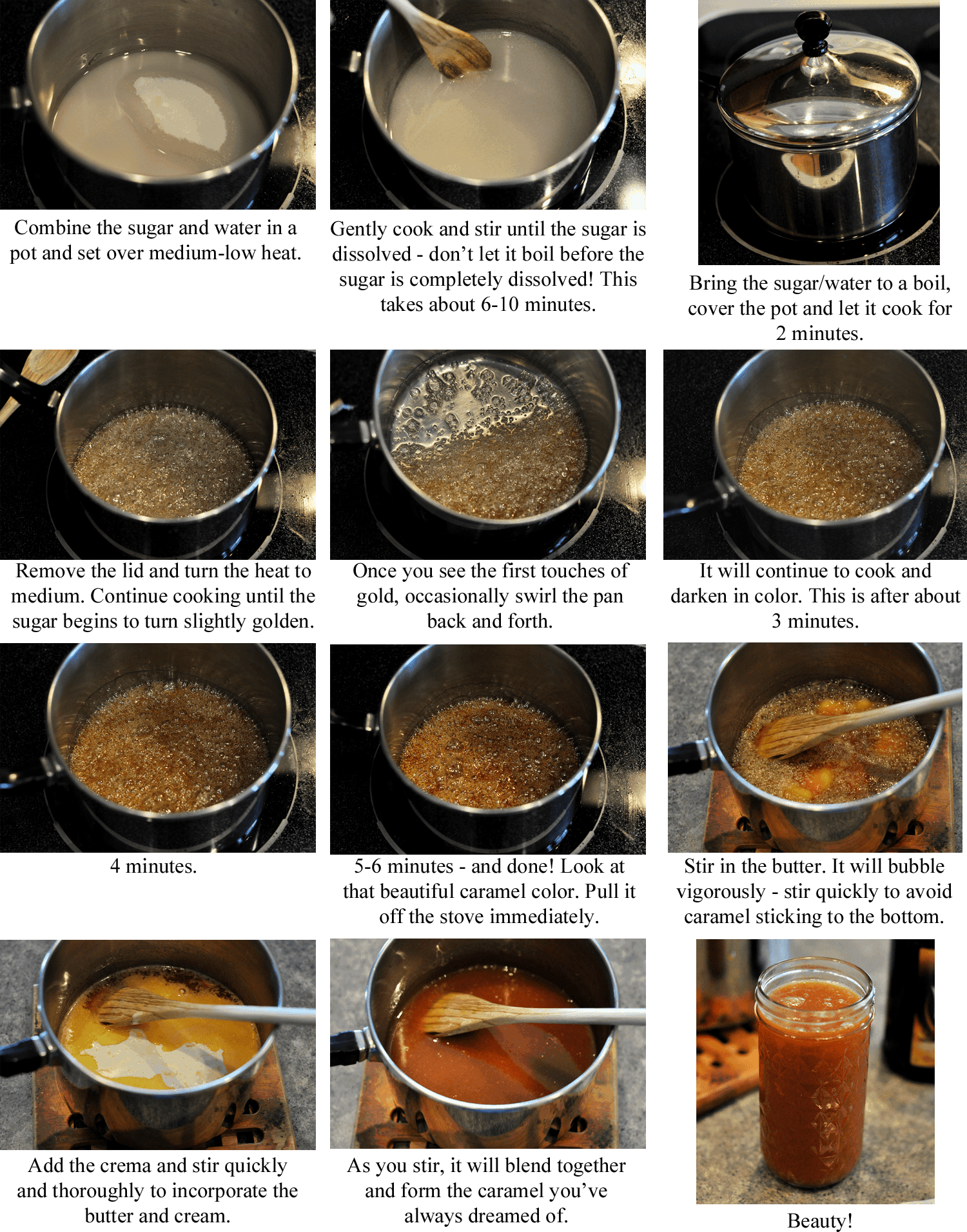 step-by-step collage of making caramel sauce