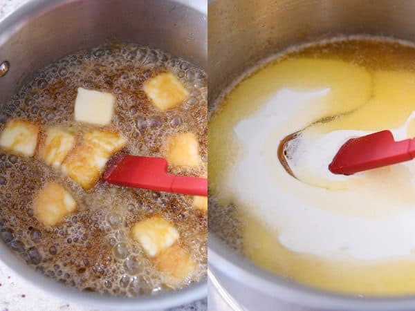 stirring butter and cream into homemade caramel sauce