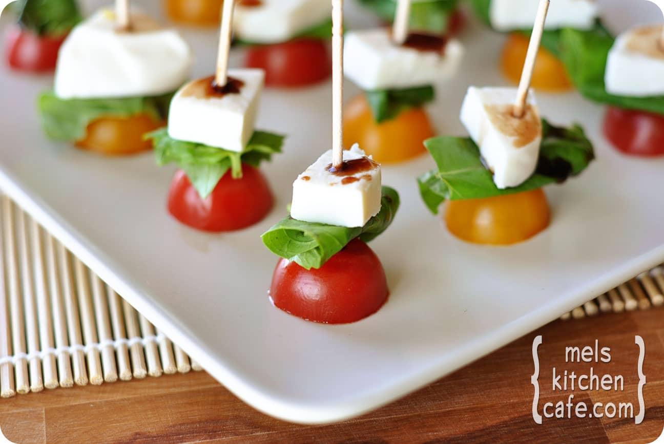 Mozzarella Basil And Tomato Skewers Recipe — Dishmaps