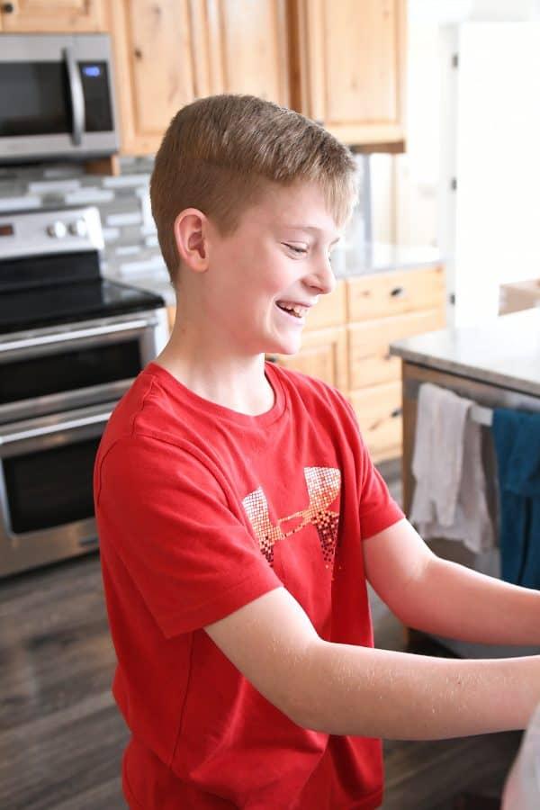 12-year old helping make pretzel bites