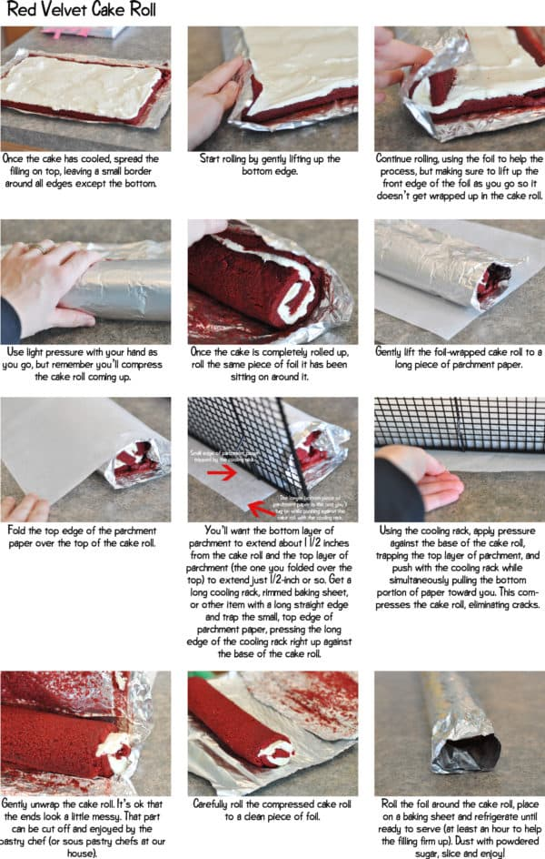 step-by-step pics collage of how to make a red velvet cake roll