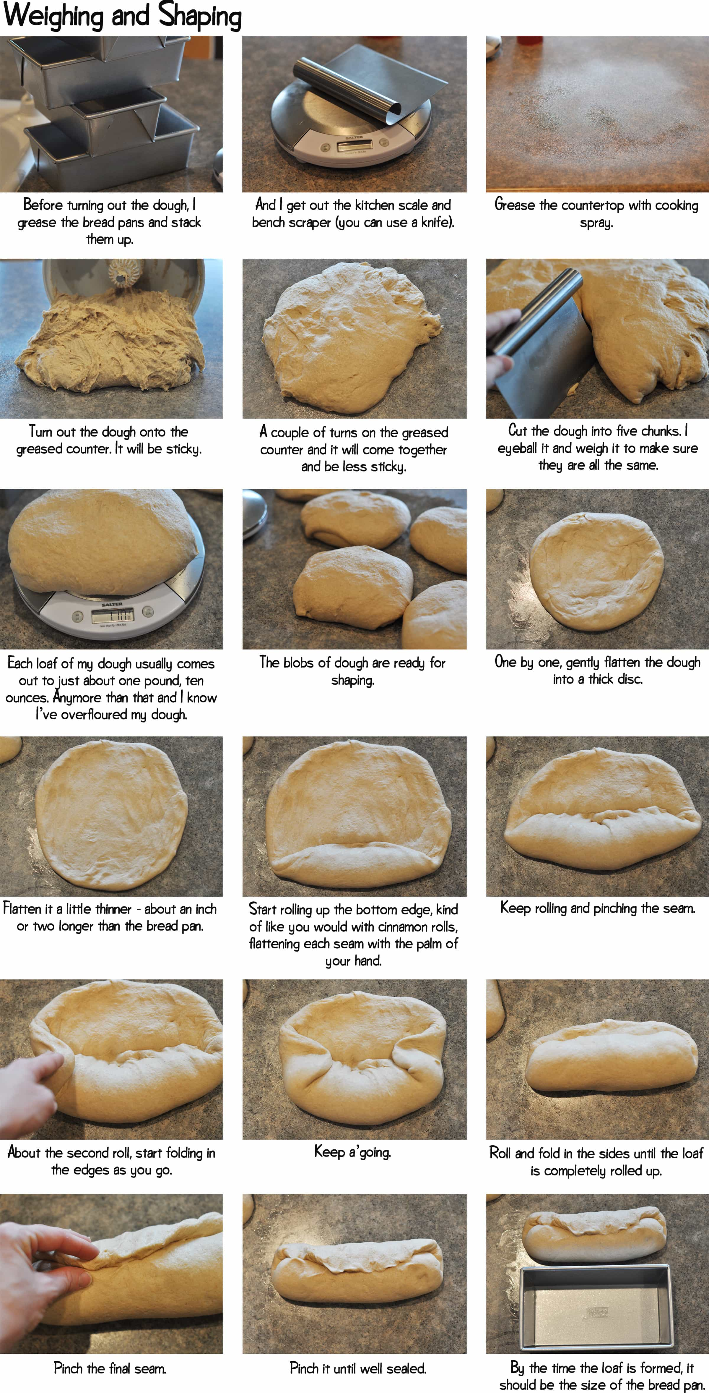 step-by-step photos of weighing and shaping bread dough