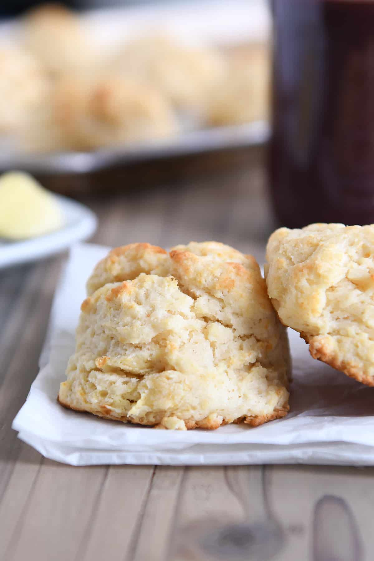 Easy flaky buttermilk drop biscuits on white napkin