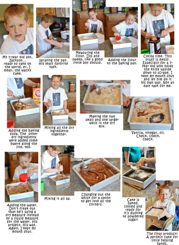 a collage of step-by-step photos of a little boy making a chocolate cake