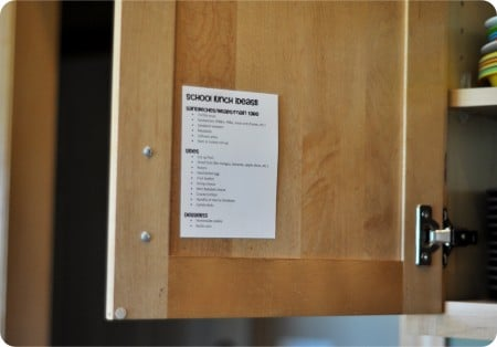 kitchen cupboard door with a laminated lunch list taped inside