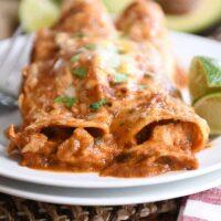 The Best Red Sauce Chicken Enchiladas