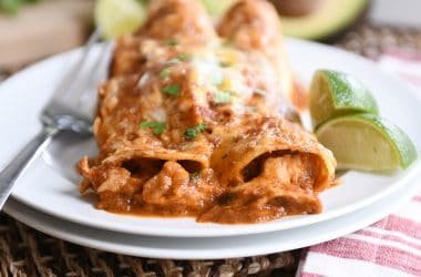Two of the best red sauce chicken enchiladas on white plate.